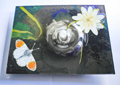 Orange-tip Butterfly with a Raindrop, a painting on glass by artist Sue Purcell