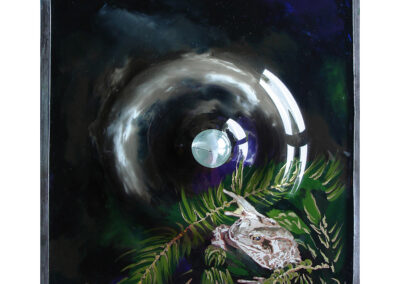 Frog with a Raindrop, a painting on glass by artist Sue Purcell