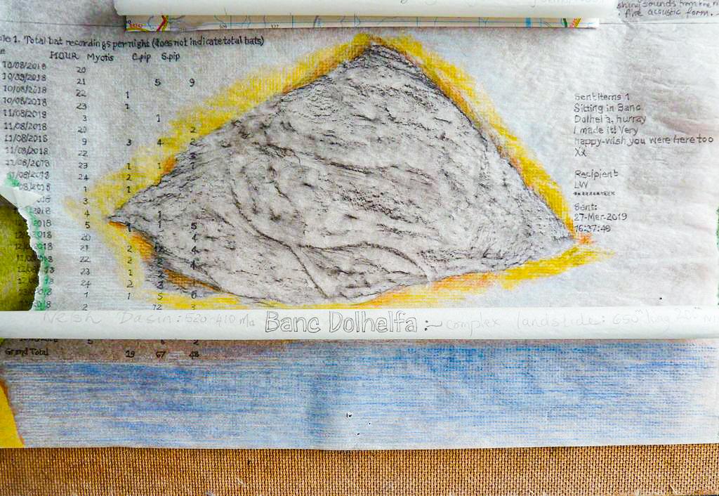 detail # 3 - media: found map, pencil, crayon, paper & hardboard. 40 x 40cms.