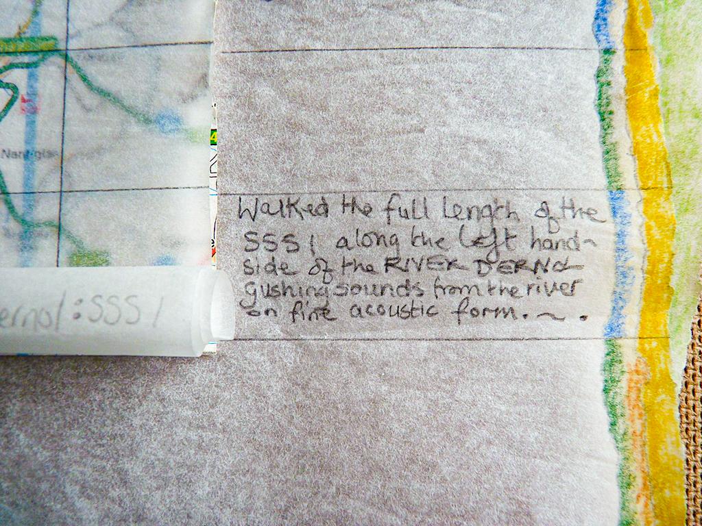 detail # 4 - media: found map, pencil, crayon, paper & hardboard. 40 x 40cms.