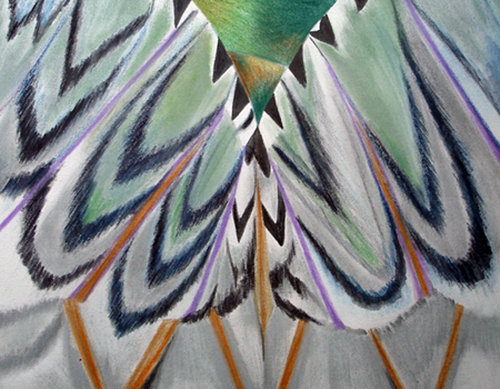 abstract picture of Puss Moth, by artist Sue Purcell