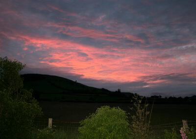Sunset in Dernol, looking north-west from Glandernol back garden