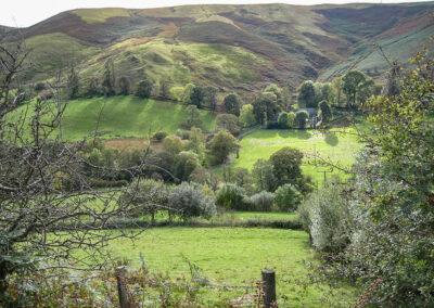View from above Dernol farm on Esgair Dernol, looking south-west towards Nantllemysten